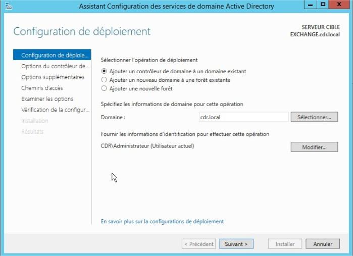 Assistant Configuration des services de domaine Active Directory