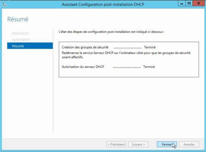 Assistant Configuration post-installation DHCP3