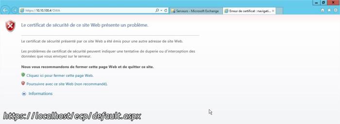 Erreur de certificat navigation bloquée - Internet Explore4r