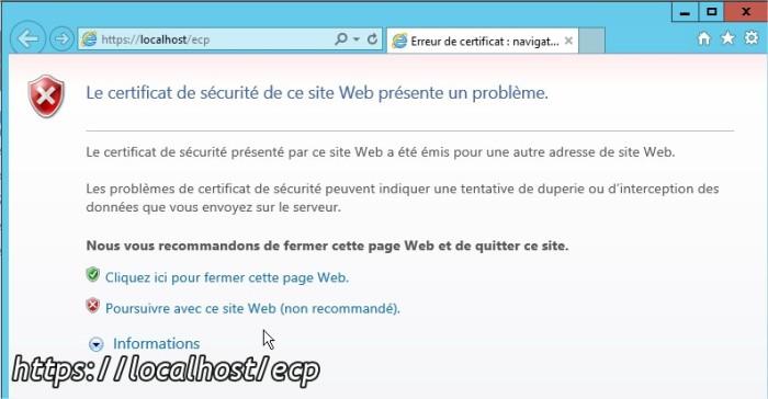 Erreur de certificat navigation bloquée - Internet Explorer