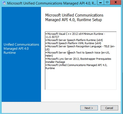 Microsoft Unified Communications Managed API 4.0, Runtime Setup