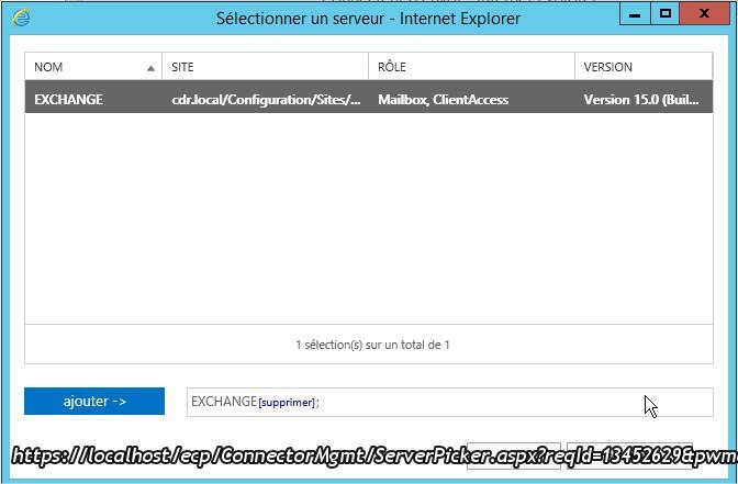 Sélectionner un serveur - Internet Explorer8